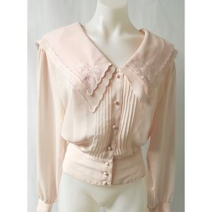 Pink Pleated Vintage Top Size 16